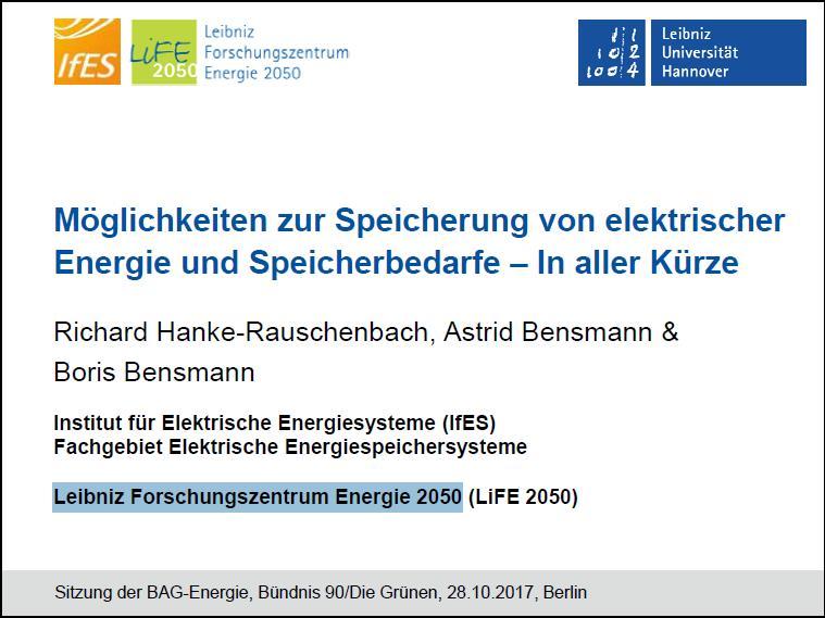 Präsentation: Möglichkeiten zur Speicherung von elektrischer Energie und Speicherbedarfe